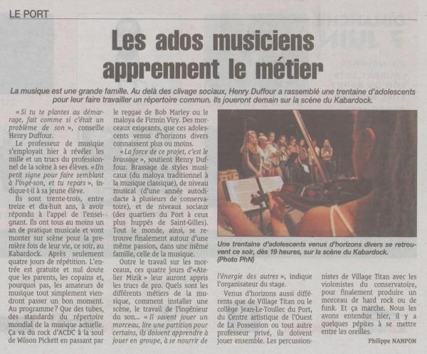 Le Quotidien de la Réunion (16 mai 2015)